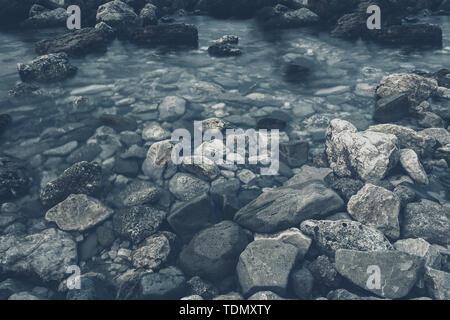 The rocky shore of the Adriatic Sea in Croatia - Stock Image