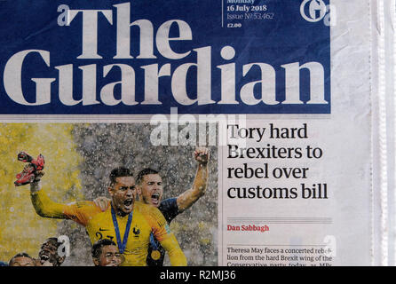 Guardian newspaper headline front page 'Tory hard Brexiters to rebel over customs bill'   London England UK   16 July  2018 - Stock Image
