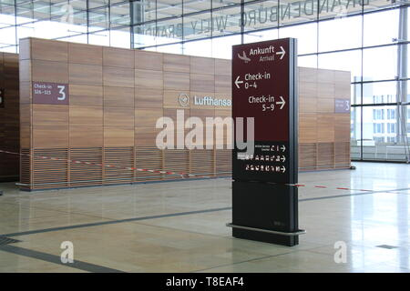 Berlin, Germany. 08th May, 2019. Ongoing construction of the Berlin Brandenburg Airport (Flughafen Berlin Brandenburg 'Willy Brandt') is seen on May 8, 2019, in Berlin, Germany. Credit: Martin Weiser/CTK Photo/Alamy Live News - Stock Image