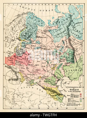 Map of Russian Empire in the 19th century. Color lithograph - Stock Image