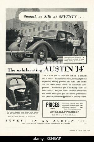 1939 UK Magazine Austin 'Fourteen' Car Advert - Stock Image