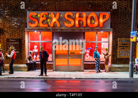 Miniature model of a sex shop on a street at night, at Kolejkowo, Wrocław, Wroclaw, Wroklaw, Poland - Stock Image