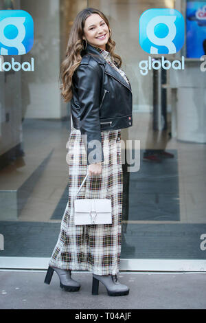 Kelly Brook arriving at Heart Radio Studios on Valentine's Day and said Happy Valentines to the photographers - London  Featuring: Kelly Brook Where: London, United Kingdom When: 14 Feb 2019 Credit: WENN.com - Stock Image