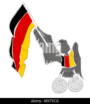Soccer Mascot for Germany.  Germany eagle mascot for football tournaments - Stock Image