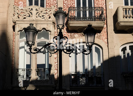 Ornate metal street lights in the old town part of Valencia, Spain. - Stock Image