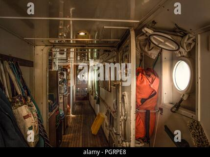Interior of the galley on board the tall ship Lord Nelson - Stock Image