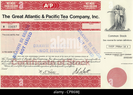 Historic share certificate, The Great Atlantic & Pacific Tea Company, A & P, US-American supermarket chain, - Stock Image