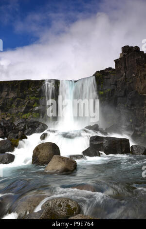 oxarafoss waterfall in Thingvellier National Park Iceland - Stock Image