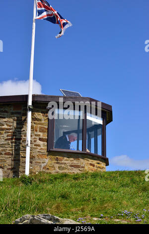 National Coastwatch Portscatho Lookout Station, Pednvadan Point, Cornwall, England, UK - Stock Image