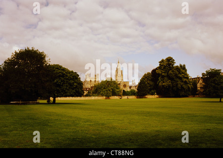 Christ Church Meadow, Oxford. Late summer weather with clouds. View of Christ Church College across the meadow. - Stock Image