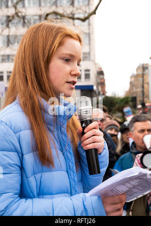 London, UK. 26th January 2019. London protest against the intended resumption of whaling by Japan.The Japanese government recently backed out of an international agreement banning commercial whaling. Campaigners rally at Cavendish Square for the march to the Japanese Embassy. Pictured 16 year old Bella Lack, ambassador for Born Free. Credit: Stephen Bell/Alamy Live News. - Stock Image