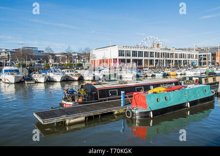 Bristol Floating Harbour at Bordeaux Quay, West Country, with all sorts of pleasure boats moored up hereabouts on a bright, sunny winter day. - Stock Image