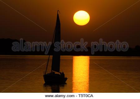 Sunset at Altmühlsee Gunzenhausen - Stock Image