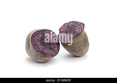 Blue Potato, variety Purple Majesty, cut open - Stock Image