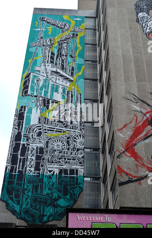 12-story street art on Nelson Street in Bristol - Stock Image