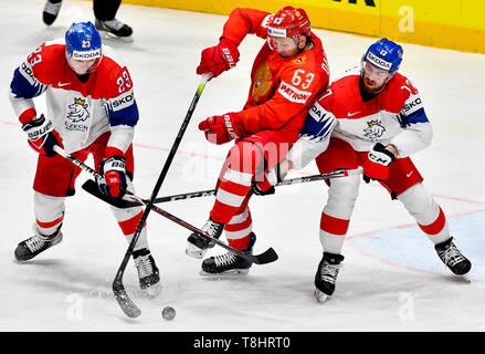 Bratislava, Slovakia. 13th May, 2019. From left Czech DMITRIJ JASKIN, EVGENI DADONOV of Russia and Czech FILIP HRONEK in action during the match Czech Republic against Russia at the 2019 IIHF World Championship in Bratislava, Slovakia, on May 13, 2019. Credit: Vit Simanek/CTK Photo/Alamy Live News - Stock Image
