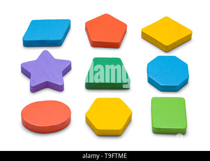 Colorful Wood Block Shapes Isolated on White Background. - Stock Image