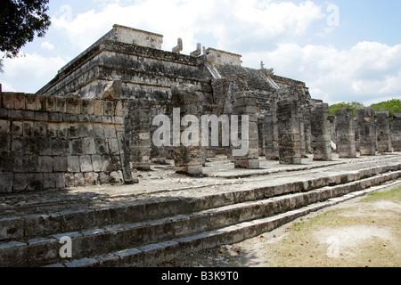 Temple of the Warriors, Chichen Itza Archaeological Site, Chichen Itza, Yucatan Peninsula, Mexico - Stock Image