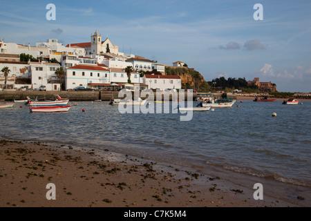 Portugal, Algarve, Ferragudo, Village & Boats - Stock Image