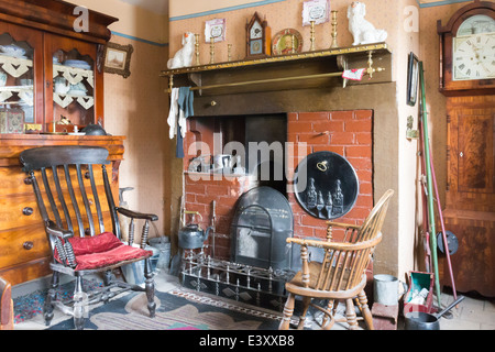 Typical Interior of Miners Cottage at Beamish Living Open Air Museum - Stock Image