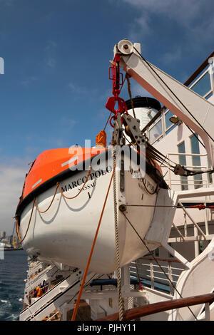 Spain, Galicia, A Coruna, harbour, MV Marco Polo lifeboat on davit - Stock Image