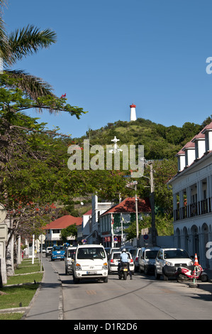 Gustavia main road along the harbor waterfront quay, traffic and congestion, Saint Barthelemy - Stock Image