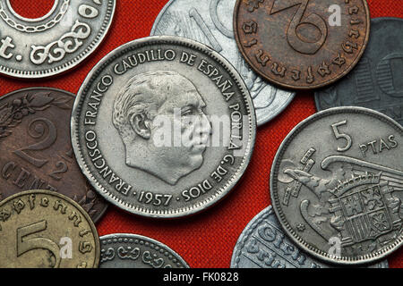Coins of Spain under Franco. Spanish dictator Francisco Franco depicted in the Spanish 25 peseta coin (1957). - Stock Image