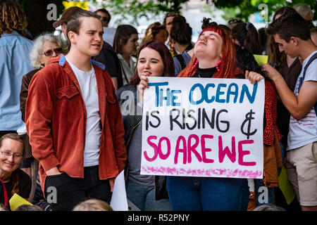 About 1000 school student gathered today November 29 2018 in front of Parliament House in Hobart, Tasmania to demand government action on global warming and climate change. - Stock Image
