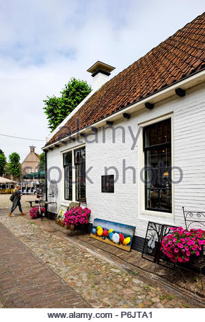 Gallery on the central market square in Vesting Bourtange, the star-shaped fortress in Groningen Province, The Netherlands - Stock Image