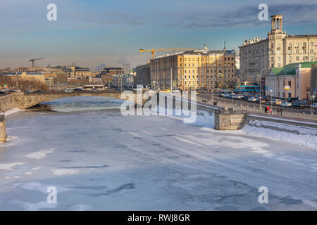Cityscape, Moskva river embankment, Moscow, Russia - Stock Image