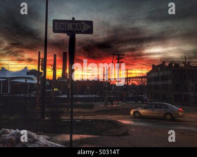Street with sunset in Cleveland Ohio - Stock Image