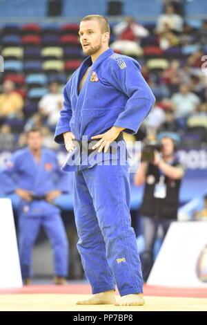 Baku, Azerbaijan. 23rd Sep, 2018. Czech judoka Jaromir Musil is seen during a match of men's 81kg class in World Judo Championships at National Gymnastics Arena in Baku, Azerbaijan, on September 23, 2018. Credit: David Svab/CTK Photo/Alamy Live News - Stock Image
