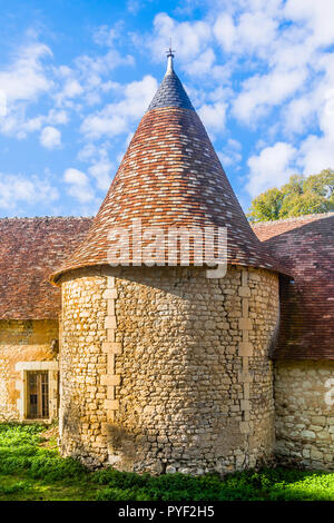 Old round tower on Chateau Boussay outbuildings - France. - Stock Image