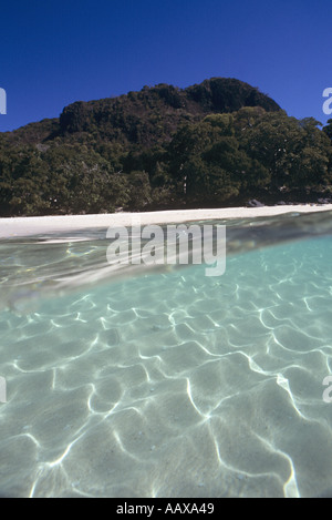 split image of sandy bottom and lush jungle island at Nosy Be in Madagascar - Stock Image