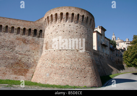 14th century historic walls of the beautiful hilltown of Jesi in Le Marche,The Marches,Italy are built on Roman - Stock Image