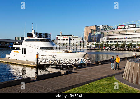 The luxury charter boat Quest iii berthed in Victoria Harbour in Melbourne Docklands,Victoria Australia. - Stock Image
