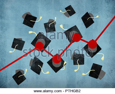 Rising line graph connecting graduation mortar boards - Stock Image
