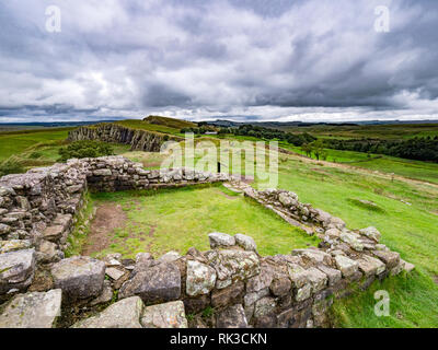 Hadrian's Wall in Northumberland, UK, from Turret 45A, Looking towards Walltown Crags. - Stock Image
