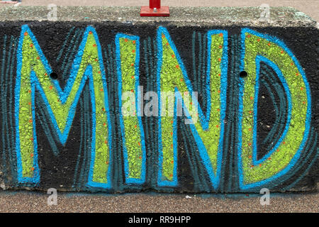 Buiksloterham, Amsterdam, Netherlands,  2018, Ferry Terminal , Graffiti Zone Detail. The word Mind in blue and green, - Stock Image