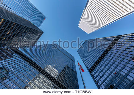 TD Centre (black) BMO (white) CIBC (upper left) bank towers in the financial district of Toronto Ontario Canada. - Stock Image