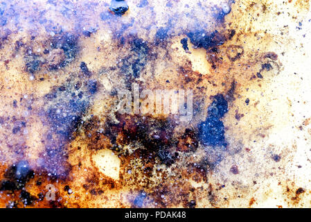 Used kitchen cooking fat on a liquid water surface with congealed lumps of greases and cooked kitchen products with a copyspace area for healthy diet  - Stock Image