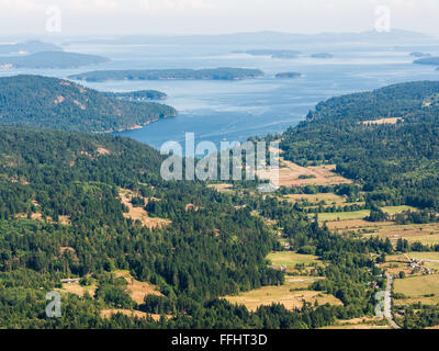 View from Baynes Peak at the summit of Mount Maxwell, Salt Spring Island, Canada. View towards Fulford Harbour, - Stock Image