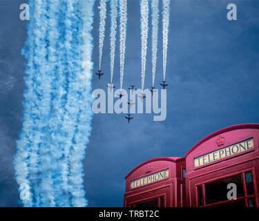 GB - DEVON: RAF Red Arrows Display Team at Torbay Airshow - Stock Image