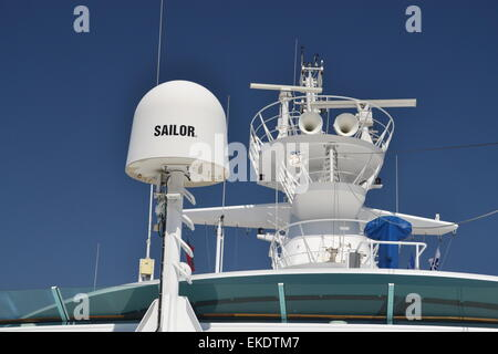 Cobham Sailor Ku-band satellite TV antenna on board a ship. - Stock Image
