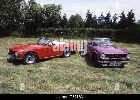 1968 Triumph TR6 and 1974 Triumph TR6 - Stock Image