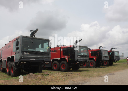 Fire Engine parked at the tarmac of Murtala Muhammed Airport, Lagos. - Stock Image