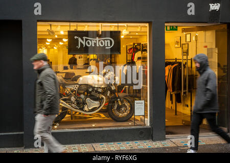 The Norton Motorcycle shop in Soho, london. - Stock Image