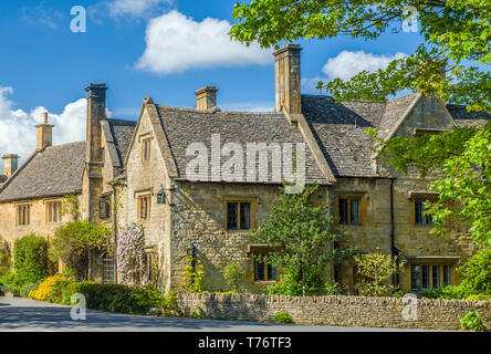 Houses in the rural village of Stanton near Broadway in the Cotswolds - Stock Image