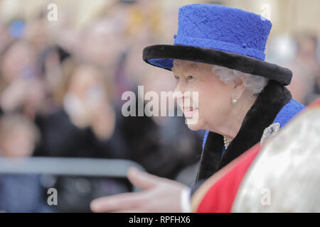 Wellington Barracks, London, UK. 22nd Feb, 2019. Her Majesty The Queen, Patron of The Royal Army Chaplains' Department, attending a service to celebrate the centenary of the granting by King George V of the prefix 'Royal' to the department, at The Guards' Chapel, Wellington Barracks. Friday 22nd February, 2019. Credit: amanda rose/Alamy Live News - Stock Image