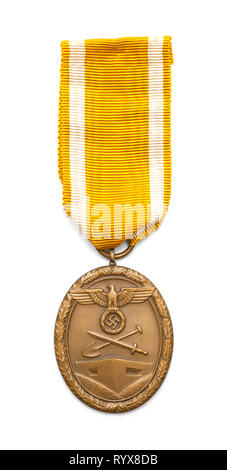 German World War Two West Wall Defence Medal Isolated on White. - Stock Image